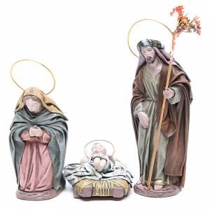 Nativité 6 santons en terre cuite et tissu 17 cm s2