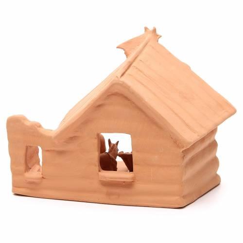 Nativité avec cabane terre cuite 20x22x16 cm s4