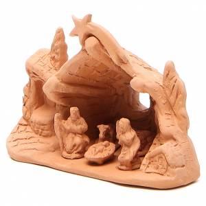 Nativité avec grotte en terre cuite 10x14x6 cm s2