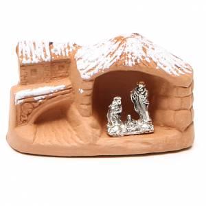 Nativité en miniature terre cuite avec neige 5x7x4 cm s1