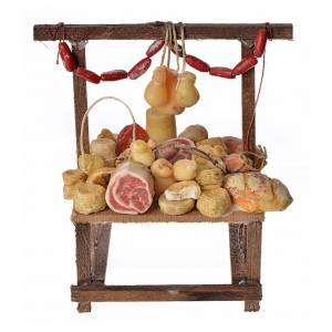 Nativity accessory, cold meat seller's stall in wax 9.5x5x14cm s1