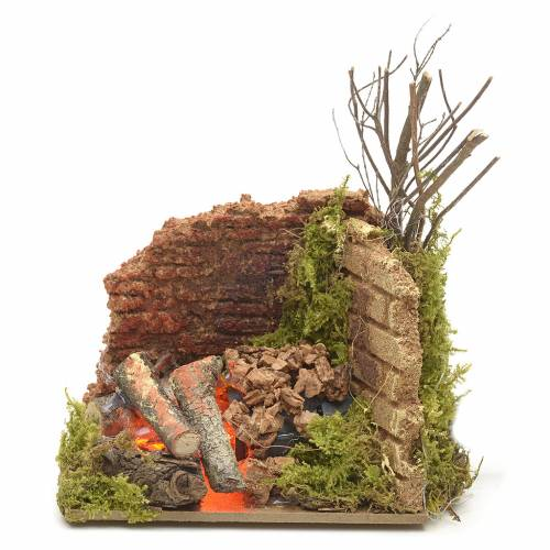 Nativity accessory, corner fire with flame effect light 10x6cm s1