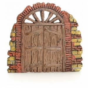 Balustrade, doors, railings: Nativity accessory, door with little bricks 10x11cm
