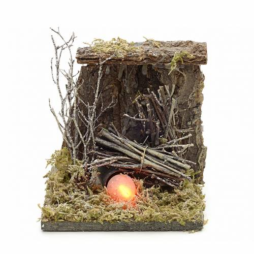 Nativity accessory, fire with flame effect light 13x12,5cm s1