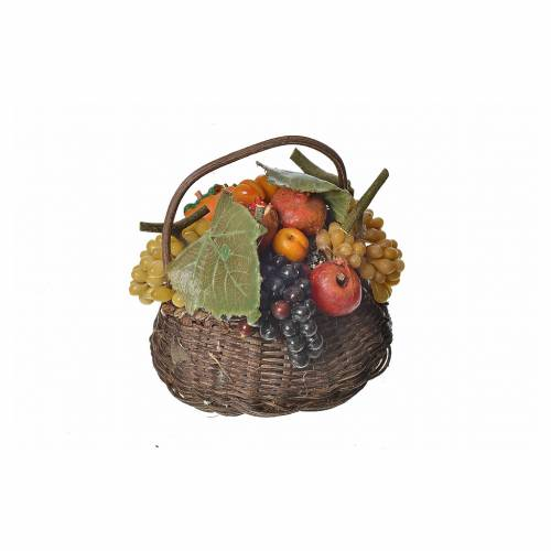 Nativity accessory, fruit basket in wax, 10x7x8cm s3
