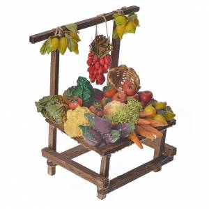 Nativity accessory, greengrocer's stall in wax 10x9x14cm s2