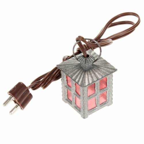 Nativity accessory, metal lamp with red light, 2.5cm s1