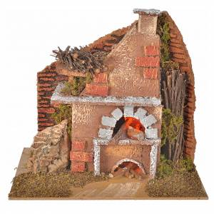 Fireplaces and ovens: Nativity accessory, oven with light, flame effect 20x12x17cm