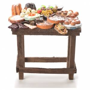 Miniature food: Nativity accessory, table with cakes in wax 20.5x20x13cm