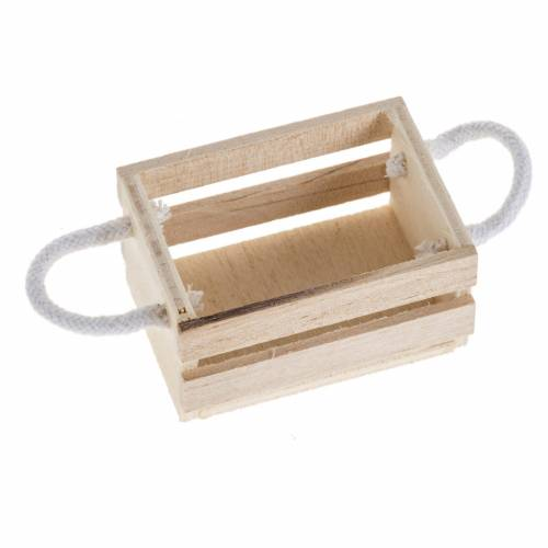 Nativity accessory, wooden box with rope handles s1