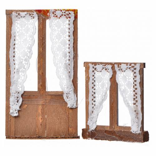 Nativity accessory, wooden frame, 2pcs, 13x7.5 and 8x7cm s2