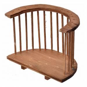 Balustrade, doors, railings: Nativity accessory, wooden round balcony, 7x8.5x5cm