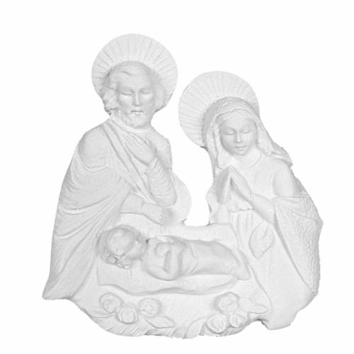 Nativity bas-relief in reconstituted carrara marble, 15 cm s1