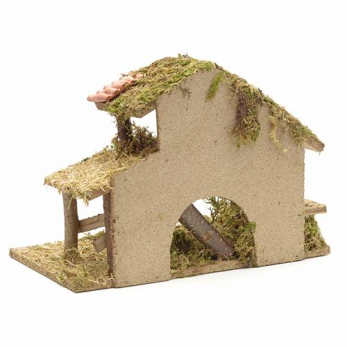 Nativity crib, moss and cork with manger and stairs s4