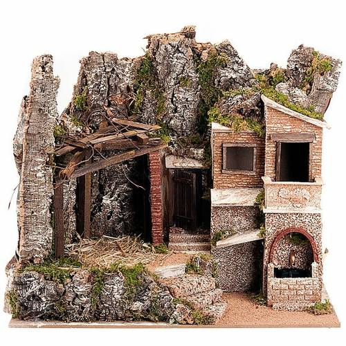 Nativity crib with fountain and village s1