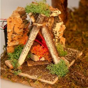 Stables and grottos: Nativity crib with water well and LED oven