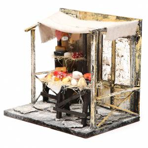 Nativity cured meat seller stall in wax, 18x20x14cm s2