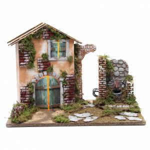 Settings, houses, workshops, wells: Nativity farmhouse with 10 lights, battery and fountain 33x45x30cm