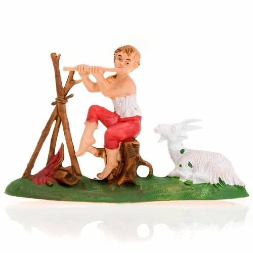 Nativity figurine, fifer boy with fire and goat 8cm 1
