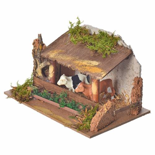Nativity figurine, stable with cows and sound s2