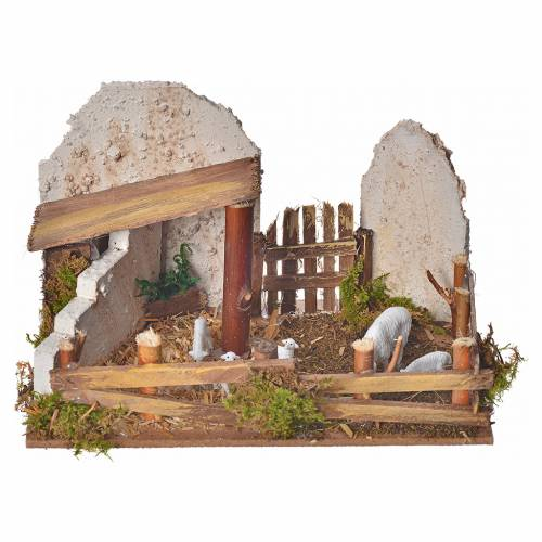 Nativity figurine, stable with sheep and sound s1