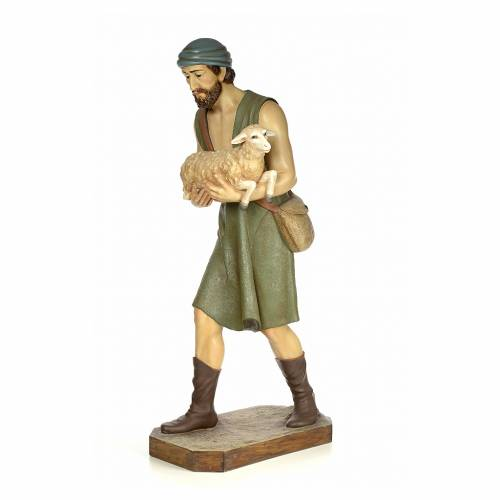 Nativity figurine wood pulp, shepherd with sheep, 160cm (antique s2