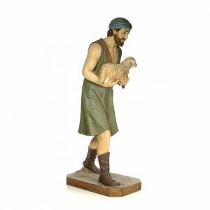 Nativity figurine wood pulp, shepherd with sheep, 160cm (antique s4