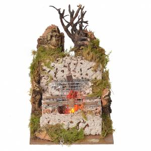 Fireplaces and ovens: Nativity fire with lamp and grill, 15x10x10cm