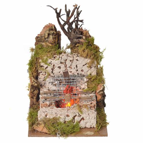 Nativity fire with lamp and grill, 15x10x10cm s1