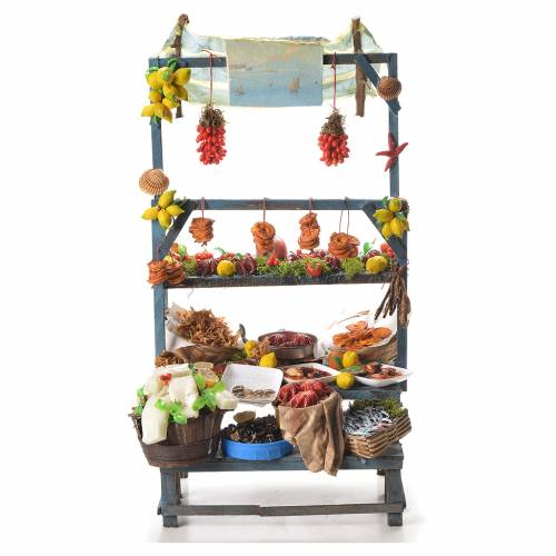 Nativity fishmonger stall in wax 48x26x24cm s1