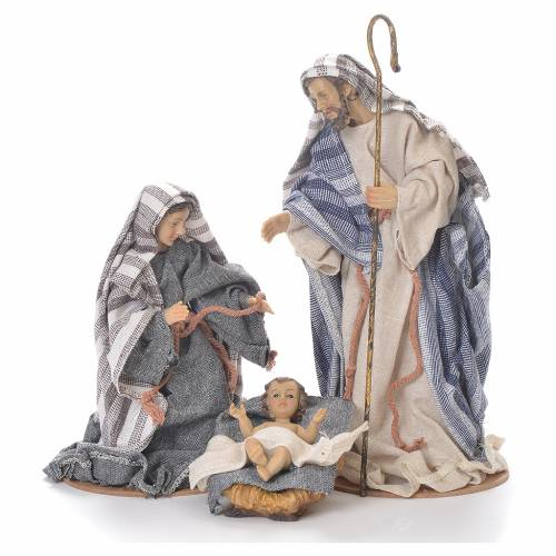 Nativity in fabric and resin measuring 26cm, grey beige finish s1