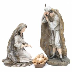 Nativity measuring 31.5cm, 3 figurines in resin with Cream Gold finish s1
