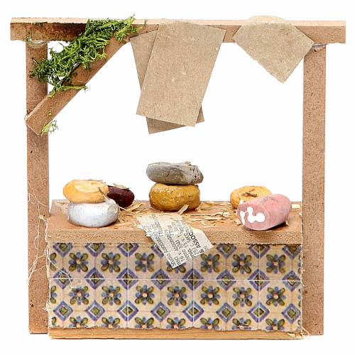 Nativity meat and cheese stall in wax, 10.5x11x4cm s1
