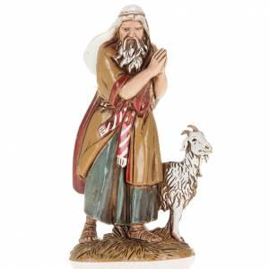Nativity Scene figurines: Nativity Scene figurine, old man with goat 10cm Moranduzzo