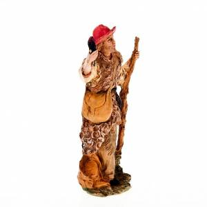 Nativity scene figurine, shepherd with torch and stick 13cm s2
