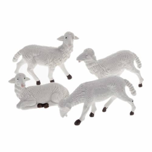 Nativity scene figurines, white plastic sheep, 4 pieces 16cm s1