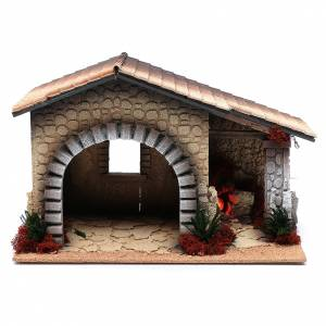 Stables and grottos: Nativity scene hut with fire30x40x25 cm