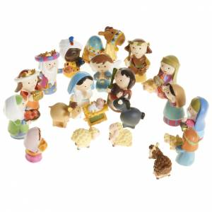 Resin and Fabric nativity scene sets: Nativity scene in coloured resin, 20 figurines 4,5cm