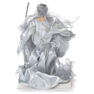 Nativity scene in resin and fabric, 20cm silver s3