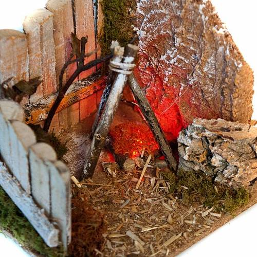 Nativity scene setting, LED battery fireplace s2