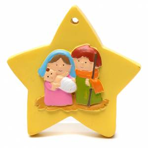 Christmas tree ornaments in wood and pvc: Nativity scene star decoration 8 cm