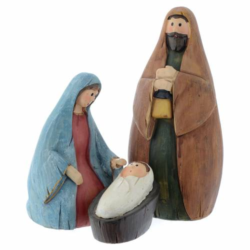 Nativity scene with 3 characters in multicoloured resin measuring 9cm s1
