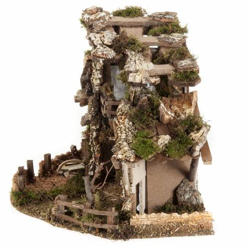 Nativity set accessory, cabin-style Hut 60x30x40 cm s5