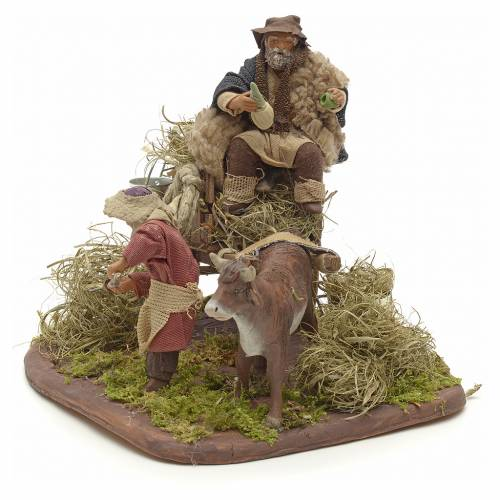 Nativity set accessory Country scene cart 10 cm clay figurines s3