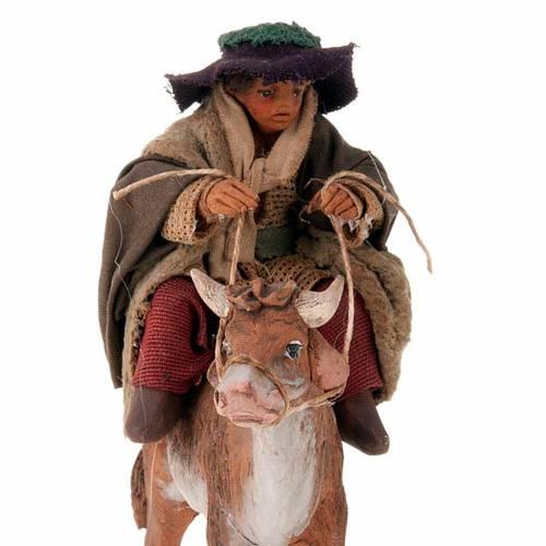 Nativity set accessory Countryman on ox 10 cm figurine s3