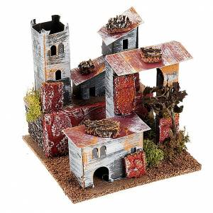 Nativity set accessory, paperboard houses with crenellated roof s2