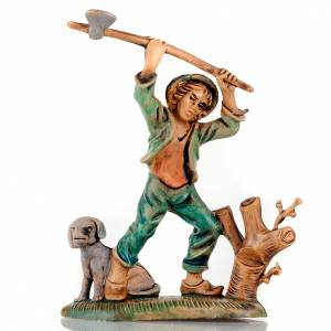 Nativity set accessory, Woodcutter with hatchet and dog s1