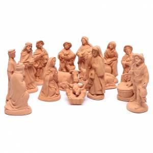 Terracotta Nativity Scene figurines from Deruta: Nativity set in natural clay 15 figurines 20cm