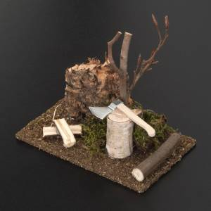 Miniature tools: Nativity set setting, hatchet with logs