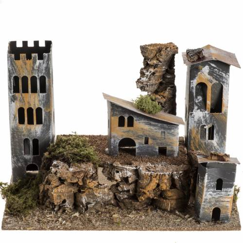 Nativity setting, cardboard village with tower s1